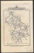 TWO BRITISH COUNTY MAP COLOURED PRINT OF CAMBRIDGESHIRE