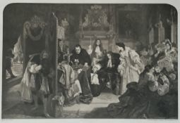 JAMES II IN HIS PALACE OF WHITEHALL ENGRAVING