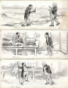THREE SKETCHES BY JAMES FRANK SULLIVAN (1853-1936) PEN & INK ON PAPER
