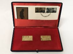 1965 18 CT GOLD SIR WINSTON CHURCHILL STAMP MEDALLIONS
