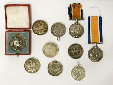 SELECTION OF SILVER COINS & MEDALS