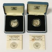 TWO ROYAL MINT BOXED WITH COA £1 SILVER PROOF COINS