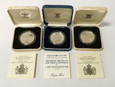 TWO 1980 SILVER PROOF COMMEMORATIVE COINS HM THE QUEEN MOTHER & 1981 SILVER PROOF COIN (3)