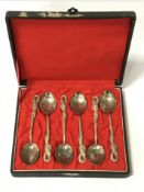 BOXED JAPANESE 84 SILVER SIX PIECE SPOON SET - ENGRAVED ON REVERSE OF SPOONS ''NAGASAKI''