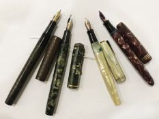 FOUR VINTAGE AND COLLECTABLE FAMOUS BRAND NAME FOUNTAIN PENS 3 WITH 14 CT NIBS