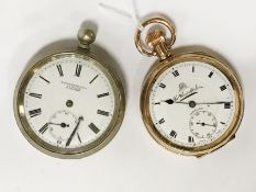 EUROPEAN SILVER FOB WATCH & ANOTHER PLATED WATCH