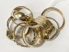 EIGHT 9CT GOLD RINGS
