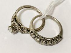 TWO SILVER & DIAMOND RINGS