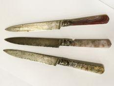 3 HM SILVER KNIVES