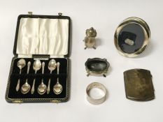 CASED SILVER SPOONS, CIGARETTE CASE & OTHER ITEMS