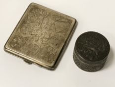 HM SILVER CIGARETTE BOX & CHINESE LIDDED ROUND BOX