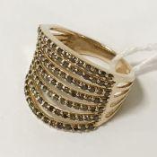 9CT GOLD BROWN DIAMOND RING