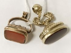 TWO 9CT GOLD AGATE FOBS