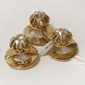 THREE GOLD & DIAMOND STUDS