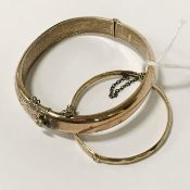 TWO PIECES OF 9CT GOLD PLATED SILVER CORE BANGLES
