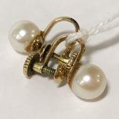 14CT GOLD & CULTURED PEARL SCREW EARRINGS