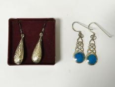 TWO PAIRS OF EARRINGS (SILVER & TURQUOISE)