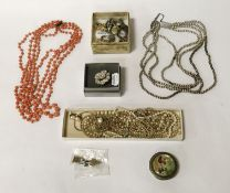 COSTUME JEWELLERY INCL. PEARLS /CORAL & SOME SILVER