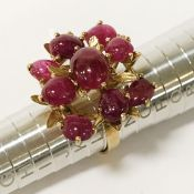 18CT GOLD RUBY CLUSTER RING