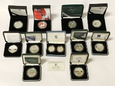 11 CASED VARIOUS SILVER COINS