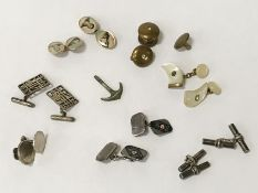 FOUR PAIRS OF VINTAGE CUFFLINKS - SOME SILVER WITH OTHERS