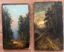 ATTRIBUTED TO YUILY YULEVICH KLEVER 1850-1924 PAIR OILS ON BOARD - LANDSCAPES - BOTH SIGNED & RUSSIA