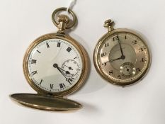 TWO GOLD PLATED POCKET WATCHES