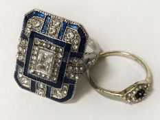 ART DECO STYLE DRESS RING & 1 OTHER