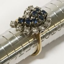 18CT YELLOW GOLD DIAMOND & SAPPHIRE RING - RING SIZE 'M'