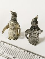 PAIR OF SPANISH SILVER PENGUINS WITH RUBY EYES - EACH 7CMS