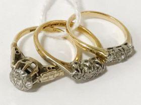 3 18CT GOLD DIAMOND RINGS