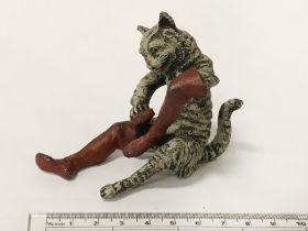PAINTED BRONZE CAT IN BOOTS