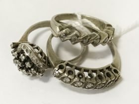 3 SILVER RINGS WITH DIAMONDS