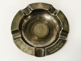 HM SILVER ASHTRAY WITH CHURCHILL COIN INLAID - 12CMS