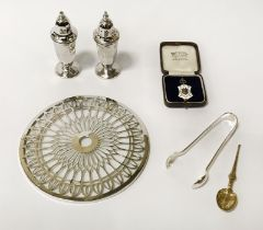 TWO SILVER SALT & PEPPER POTS WITH SILVER MEDAL, SUGAR TONGS & SPOONS ALONG WITH A SILVER WINE