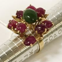 18CT YELLOW GOLD & RUBY RING - RING SIZE 'L'