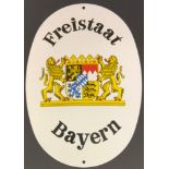 METAL ENAMEL SIGN OF BAYERN / BAVARIA COAT OF ARMS AND SET OF STAMPS FOR RAILWAY USE
