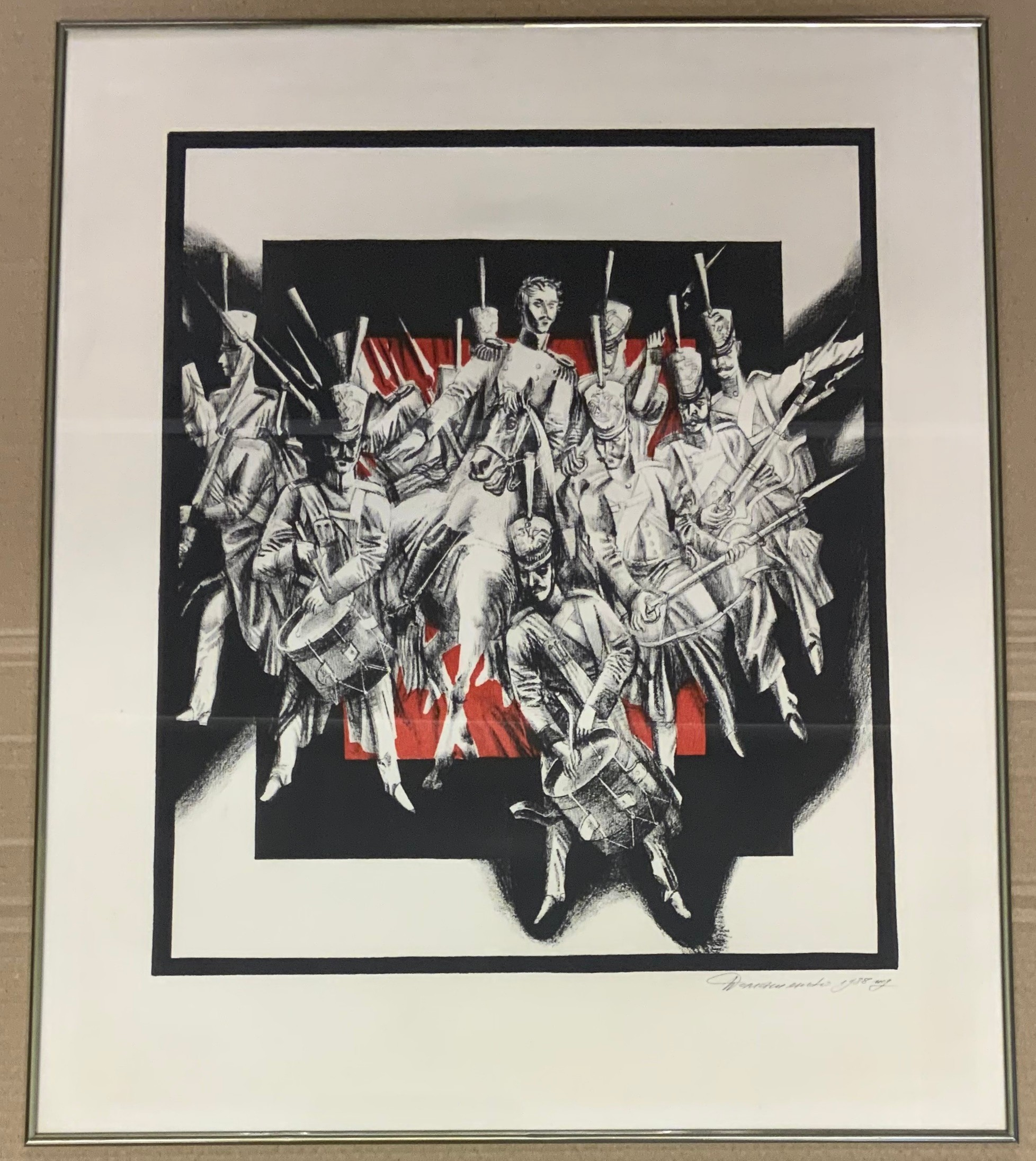 PAIR OF FRAMED LARGE SIGNED LINOCUT RUSSIAN PRINTS