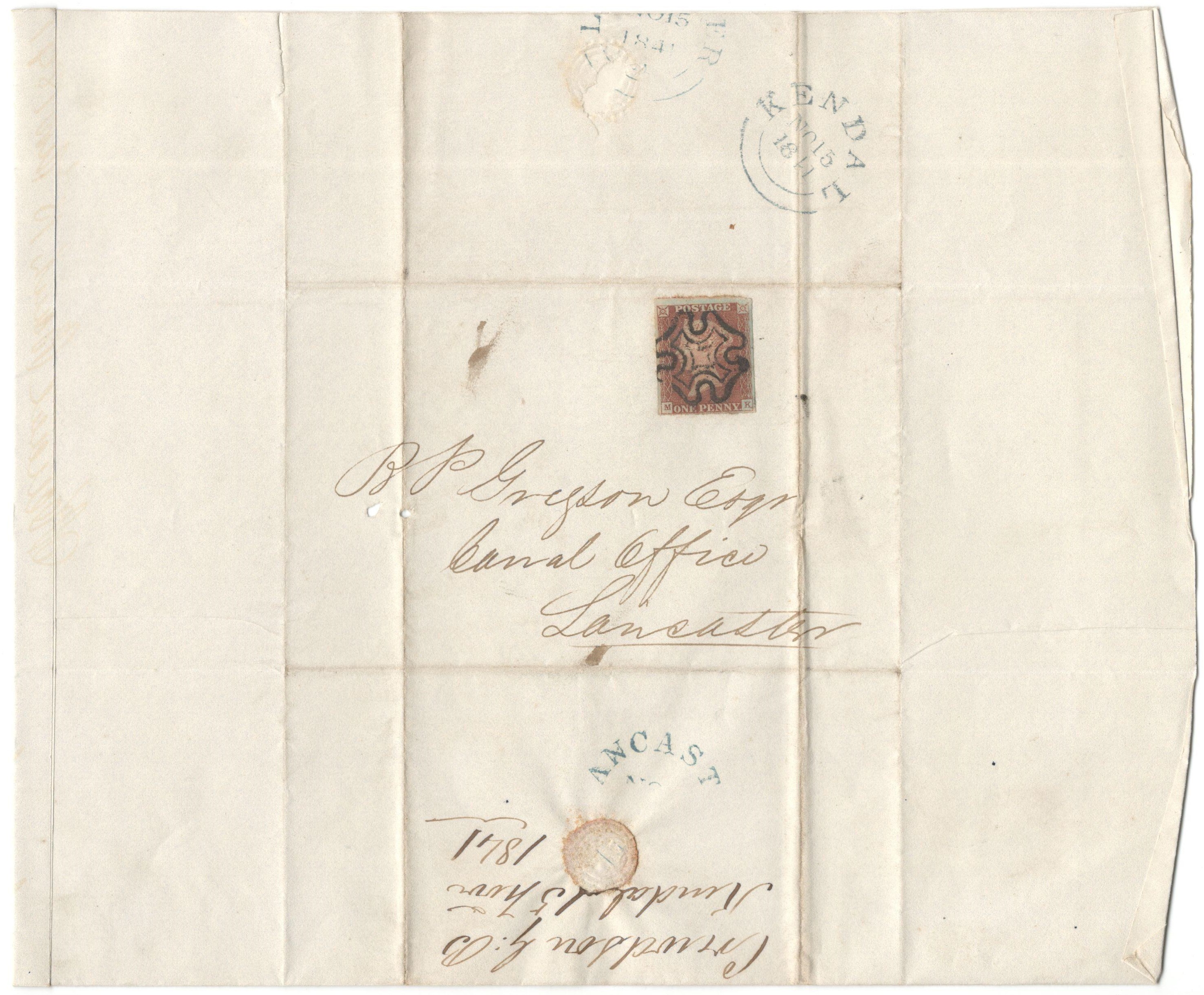 1841 IMPERFORATE PENNY RED STAMP ON ENTIRE LANCASTER / KENDAL WITH MALTESE CROSS (MK) - Image 2 of 3