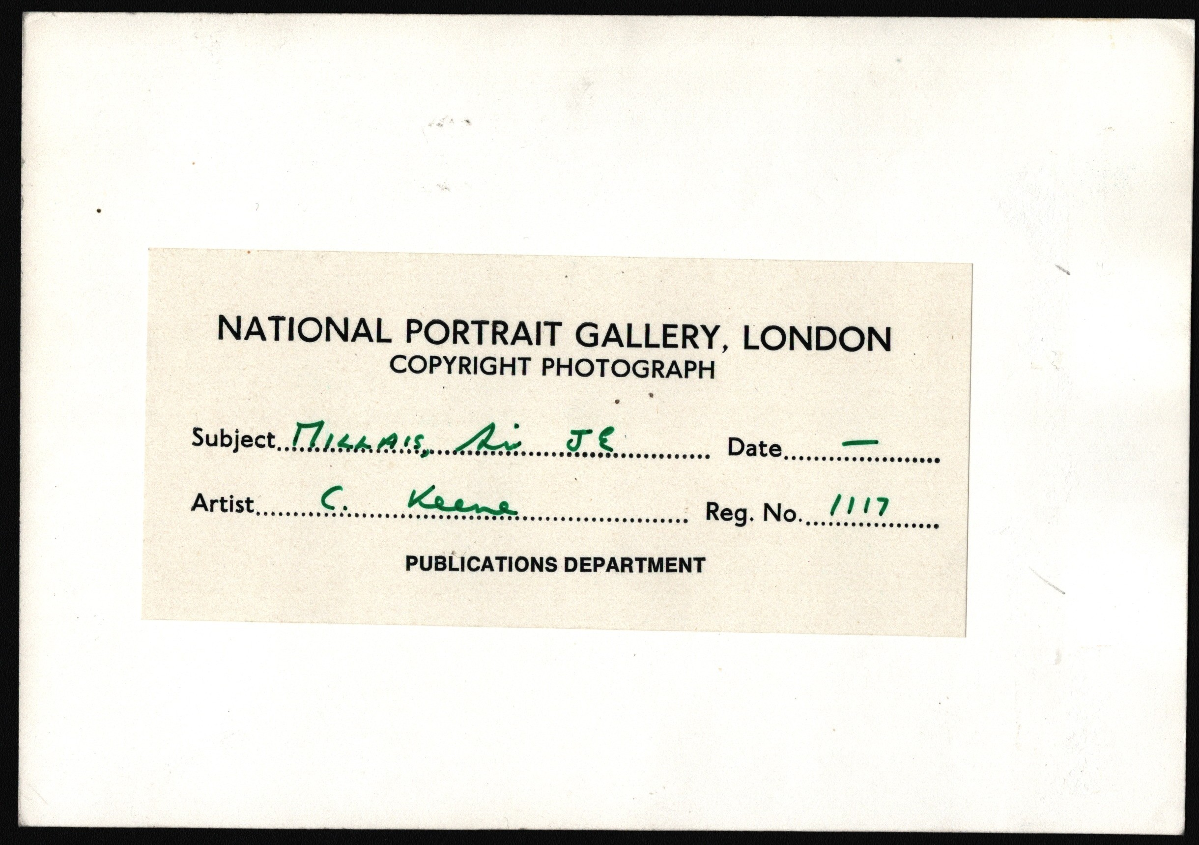 PHOTOGRAPH OF J.E. MILLAIS PICTURE FOR NATIONAL PORTRAIT GALLERY LONDON - Image 2 of 2