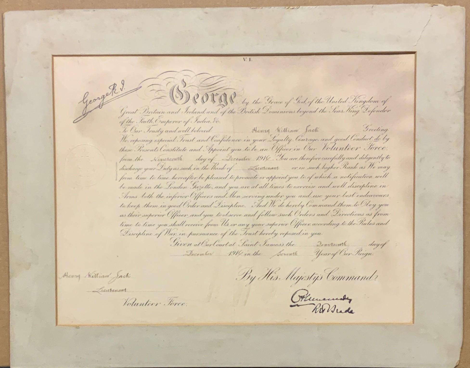 KING GEORGE V MILITARY ORDERS CERTIFICATE TO LIEUTENANT HENRY WILLIAM JACK VOLUNTEER FORCE