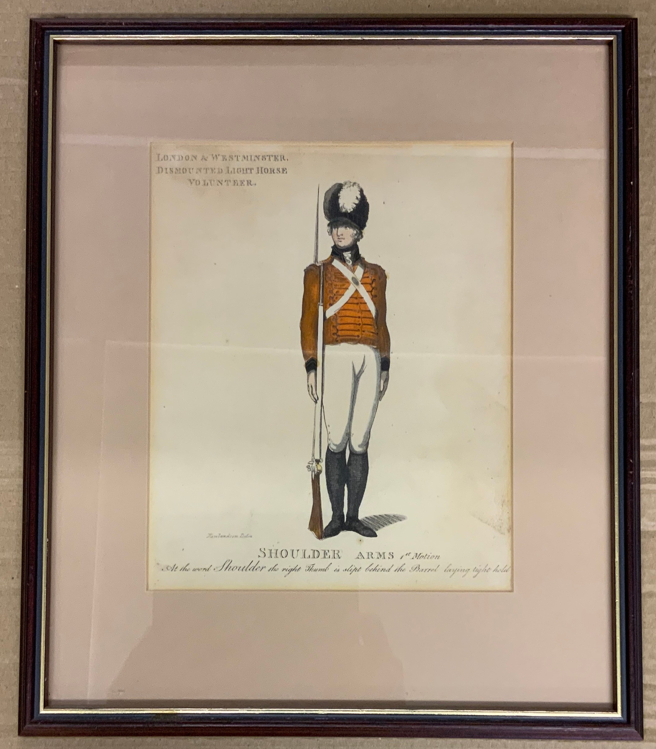 FRAMED CLERKENWELL CAVALRY PRINT BY THOMAS ROWLANDSON