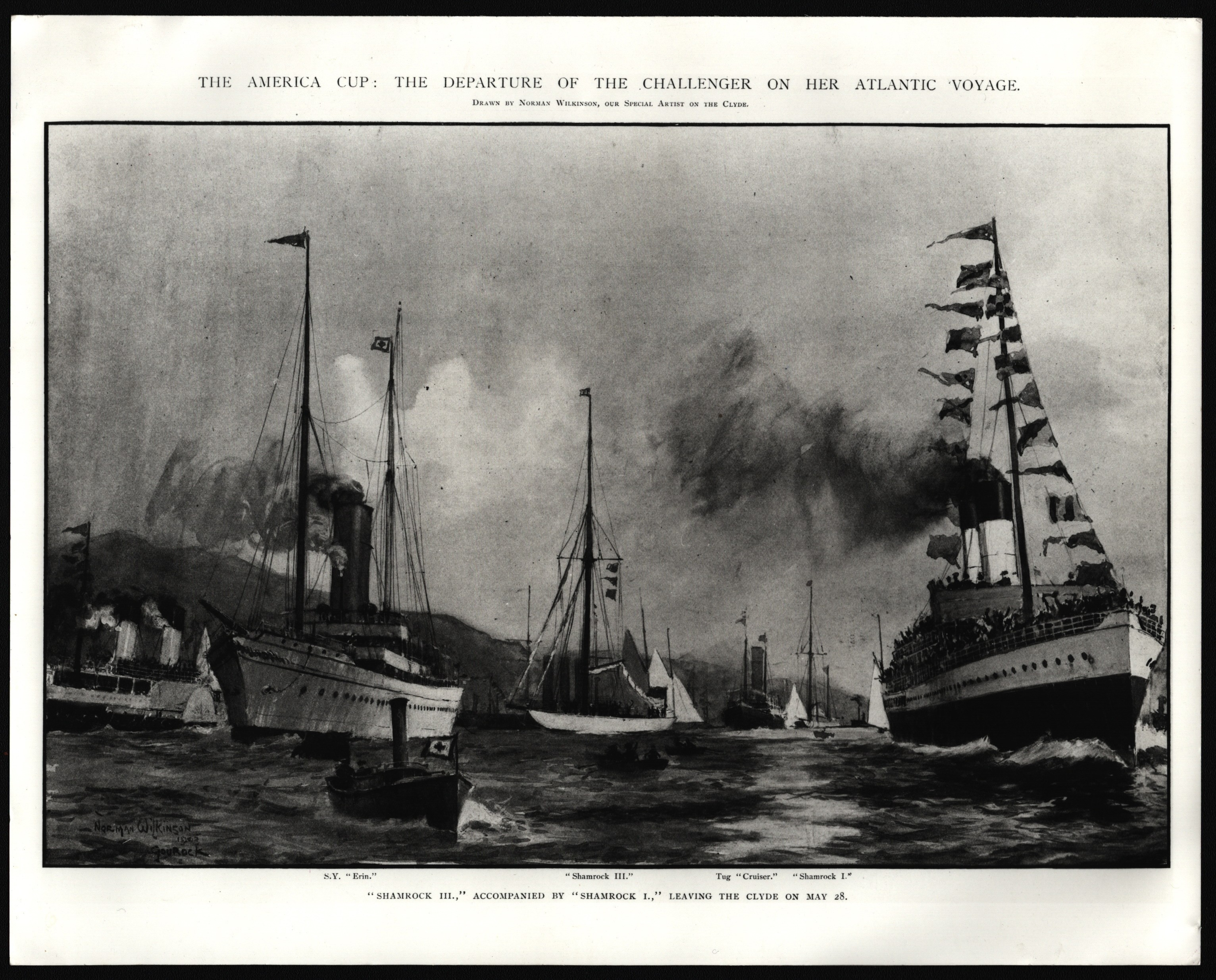 PHOTOGRAPH OF SHAMROCK III FOR THE ILLUSTRATED LONDON NEWS PICTURE LIBRARY