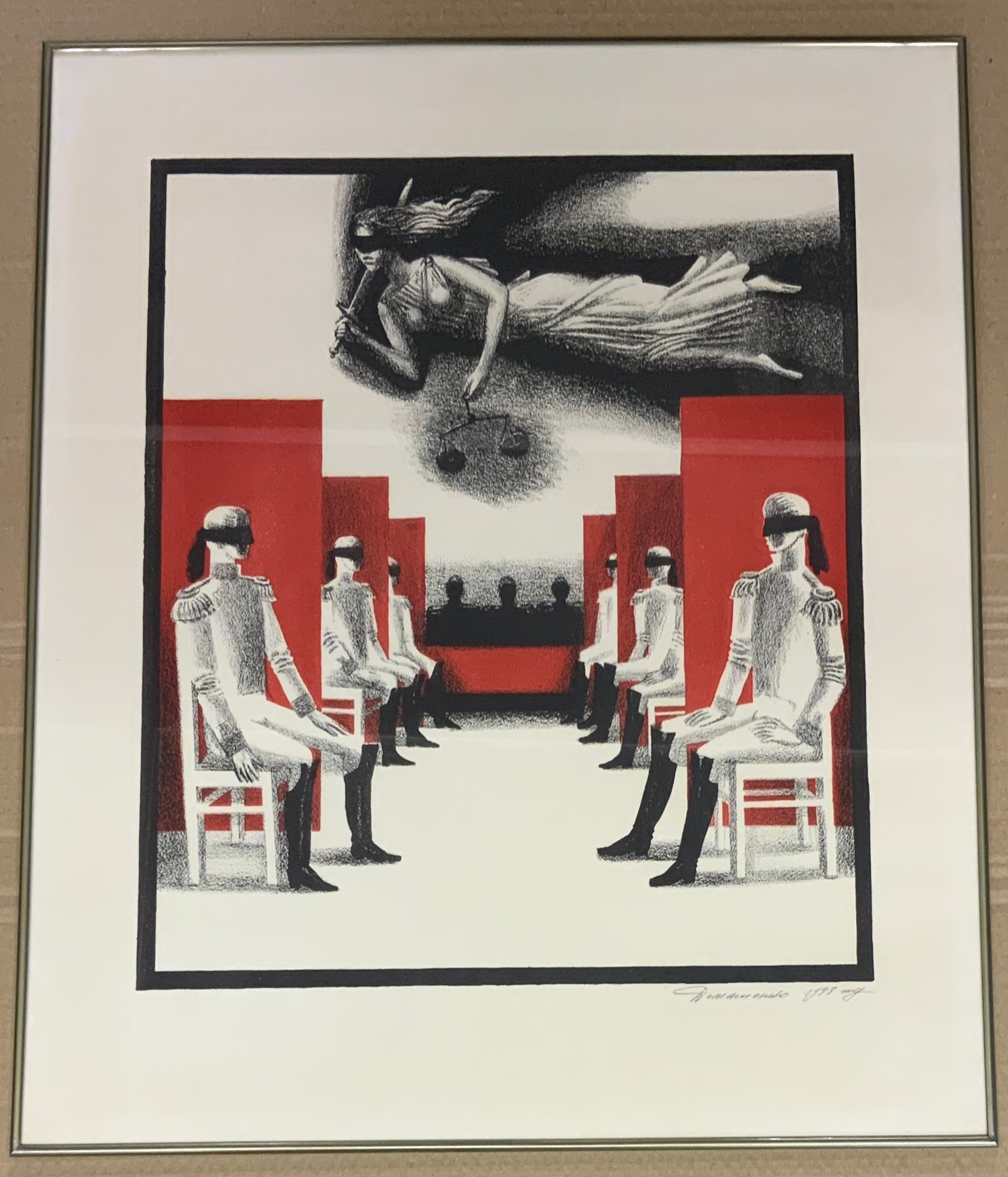 PAIR OF FRAMED LARGE SIGNED LINOCUT RUSSIAN PRINTS - Image 2 of 2