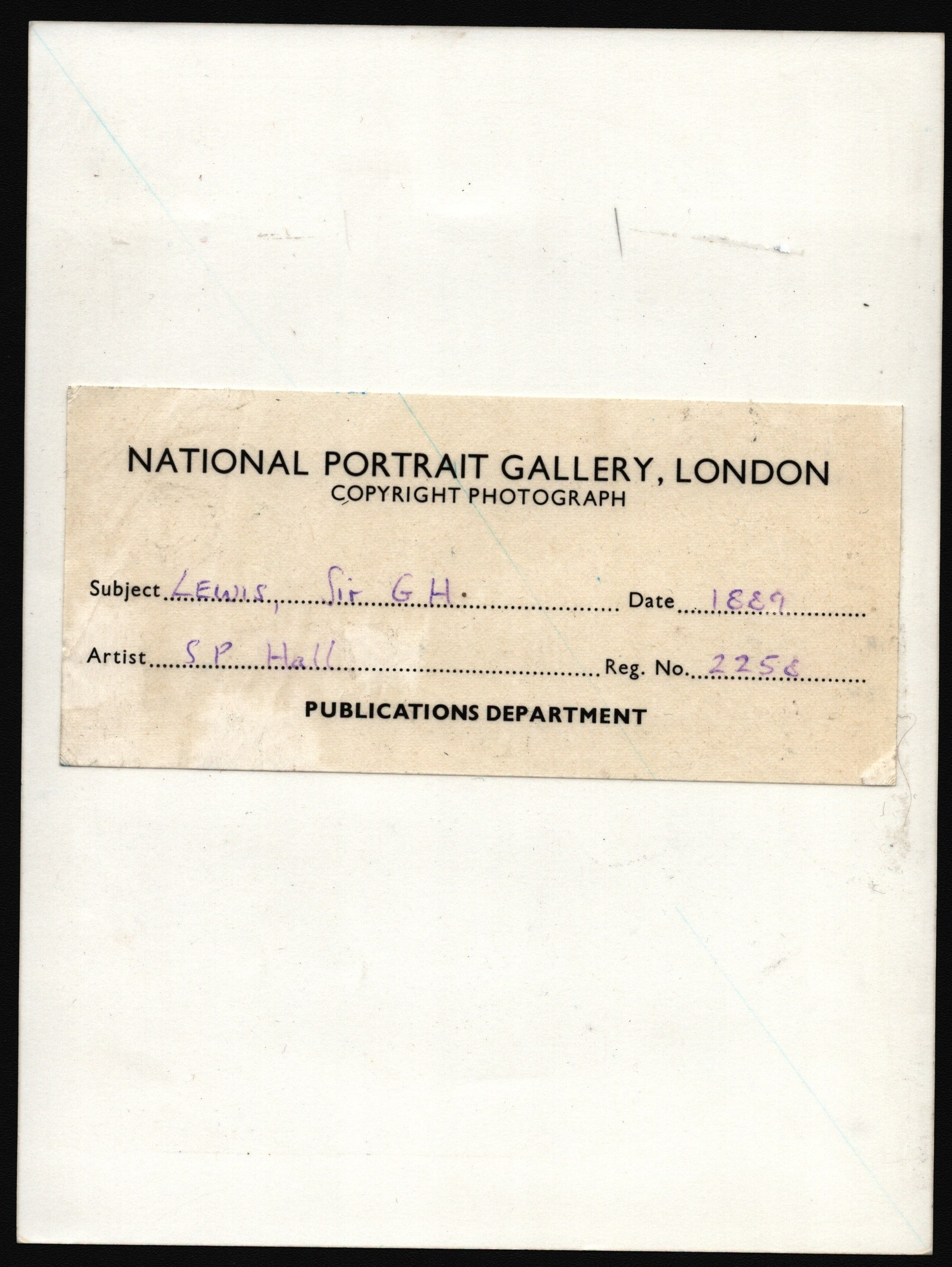 PHOTOGRAPH OF DRAWING OF SIR G.H. LEWIS FOR NATIONAL PORTRAIT GALLERY LONDON - Image 2 of 2