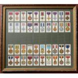 JOHN PLAYER & SONS SERIES OF 90 CIGARETTE CARDS WAR DECORATIONS & MEDALS - FRAMED