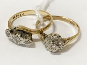 TWO 18CT GOLD & DIAMOND RINGS - SIZES L & M