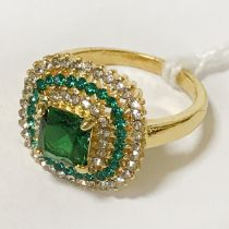 GILT SILVER RING WITH EMERALD & SAPPHIRE - SIZE N