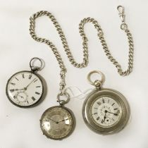 THREE SILVER POCKET WATCHES & A SILVER FOB CHAIN