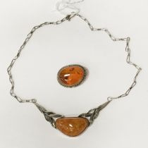 SILVER & AMBER SET NECKLACE & BROOCH